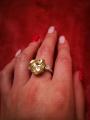 Кольцо с большим жёлтым сердцем
