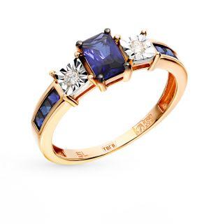Золотое кольцо с сапфирами и бриллиантами SUNLIGHT: красное и розовое золото 585 пробы, сапфир, бриллиант — купить в интернет-магазине Санлайт, фото, артикул 73096