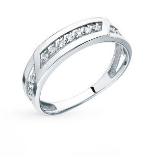 Серебряное кольцо с фианитами СОРОКИН К-3649-Р: белое серебро, фианит — купить в интернет-магазине SUNLIGHT, фото, артикул 89970