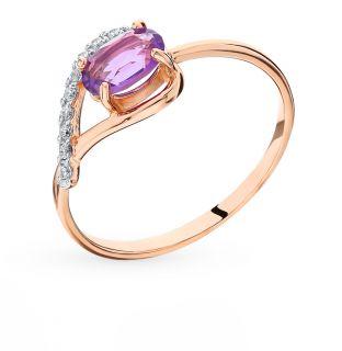 Золотое кольцо с аметистом и фианитами SUNLIGHT К122-1736Ам*: красное и розовое золото 585 пробы, аметист, фианит — купить в интернет-магазине Санлайт, фото, артикул 90630