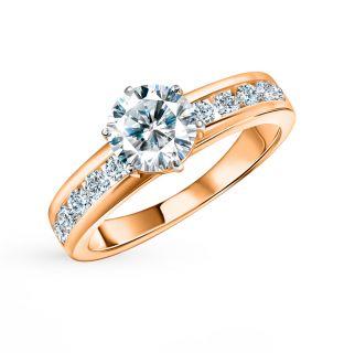 Золотое кольцо с фианитами и кристаллами swarovski KARATOV 1101013139*: красное и розовое золото 585 пробы, фианит, кристалл swarovski — купить в интернет-магазине SUNLIGHT, фото, артикул 57166