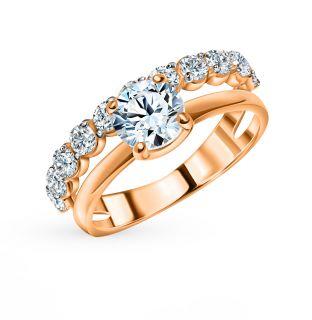 Золотое кольцо с фианитами СОРОКИН 70184500*: красное и розовое золото 585 пробы, фианит — купить в интернет-магазине SUNLIGHT, фото, артикул 100464