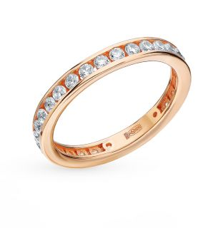 Серебряное кольцо с фианитами AQUAMARINE 63353А.6: красное и розовое серебро 925 пробы, фианит — купить в интернет-магазине SUNLIGHT, фото, артикул 87424