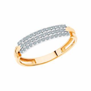 Золотое кольцо с фианитами СОРОКИН 60051100-2*: жёлтое золото 585 пробы, фианит — купить в Санкт-Петербурге, фото, артикул 44512 — интернет-магазин SUNLIGHT