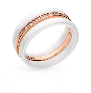 Серебряное кольцо с керамикой и фианитами SUNLIGHT: серебро 925 пробы и керамика, керамика, фианит — купить в интернет-магазине Санлайт, фото, артикул 72480