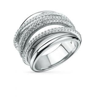 Серебряное кольцо с фианитами SUNLIGHT: белое серебро 925 пробы, фианит — купить в интернет-магазине Санлайт, фото, артикул 40437