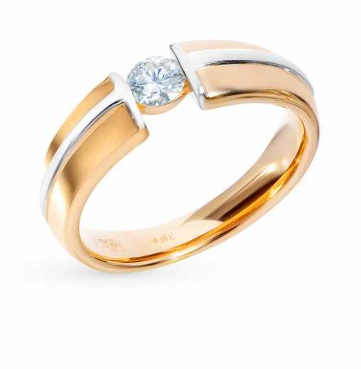 Кольцо «Бриллианты Якутии» с 1 бриллиантом, 0.28 карат  Розовое золото 585  пробы −52% SUNLIGHT a1087c61f8a