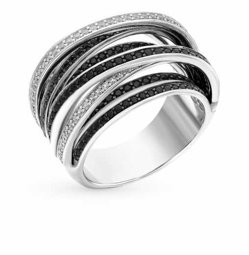 Кольцо, вставка  фианит  фианит черный  Серебро 925 пробы. −52% SUNLIGHT 8564922f20c