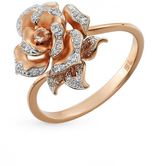18a21e089ad5 Золотое кольцо с топазами и бриллиантами SUNLIGHT  красное и розовое ...