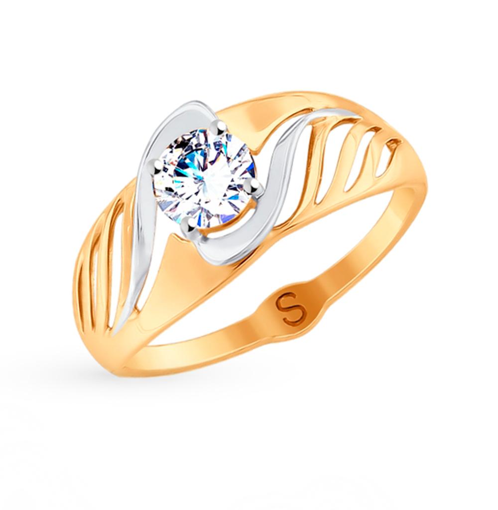 Фото «Золотое кольцо с фианитами SOKOLOV 017888»
