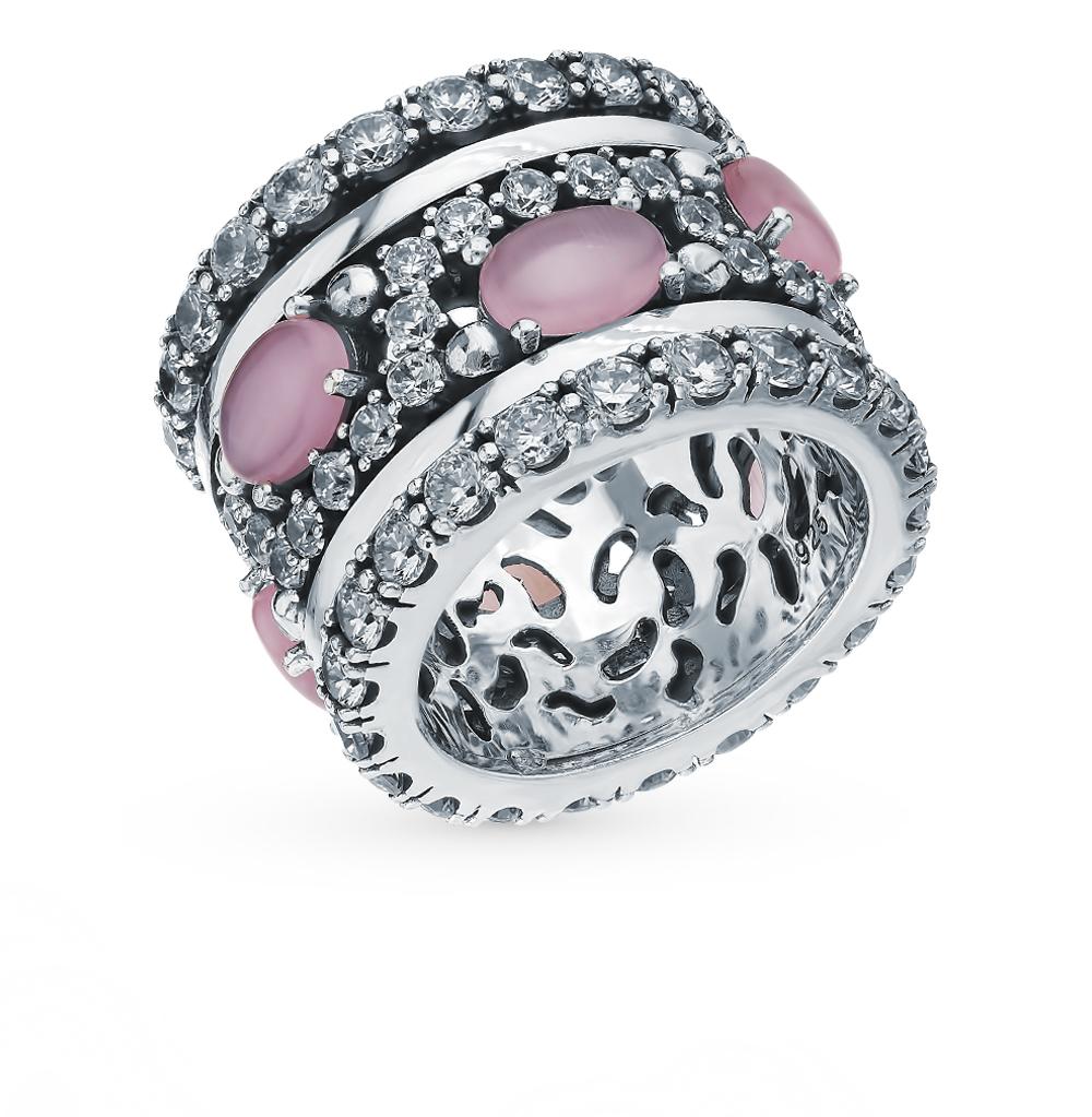 Фото «Серебряное кольцо с фианитами и кошачьим глазом»