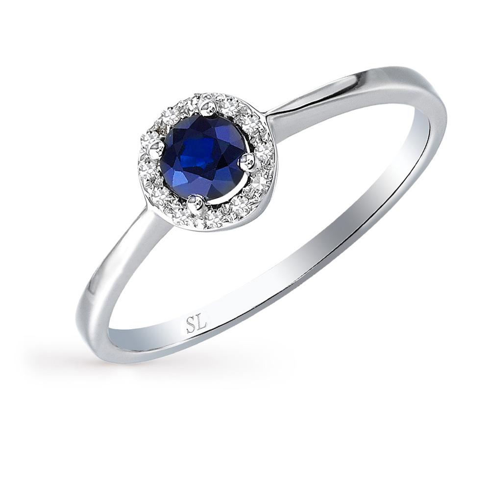 Золотое кольцо с сапфирами и бриллиантами SUNLIGHT  белое золото 585 ... f3dc5ad09bceb