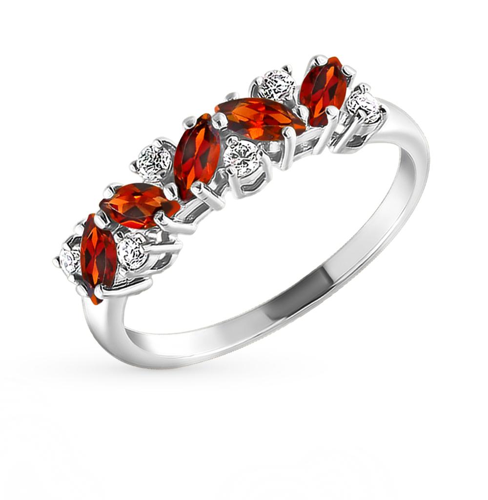 серебряное кольцо с фианитами и гранатом SOKOLOV 92010007