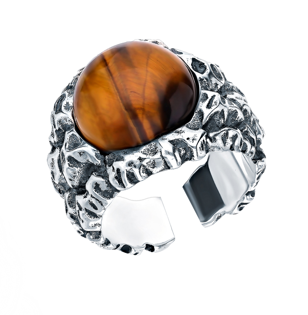 Серебряное кольцо с тигровым глазом S40542-K9W-01 в Санкт-Петербурге