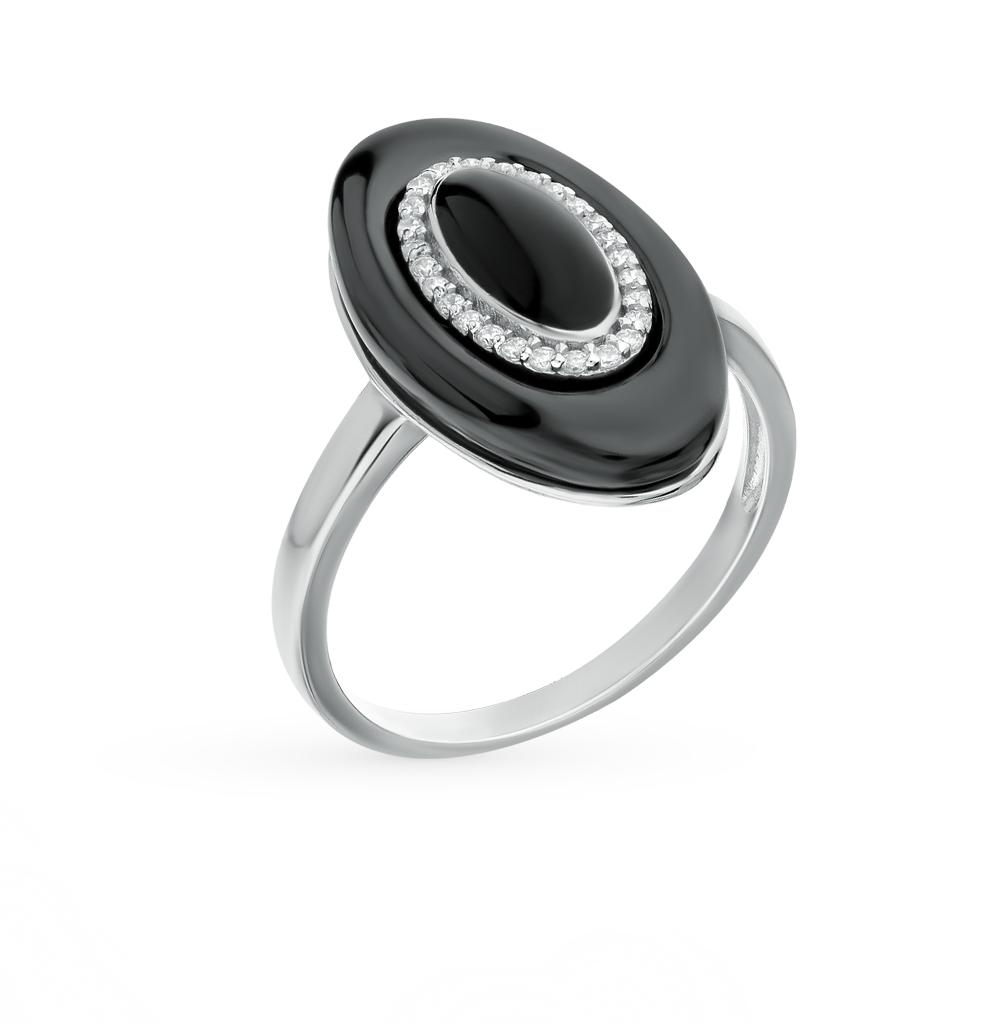 Фото «кольцо из серебра с фианитами, эмалью и керамикой»