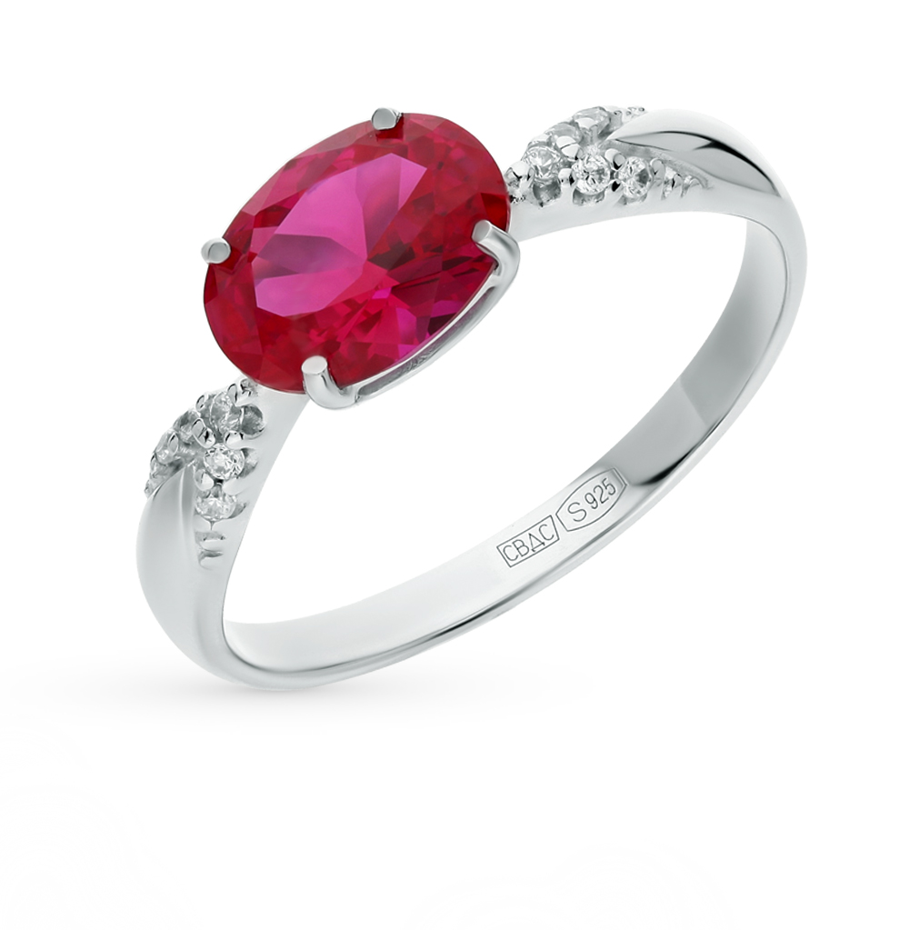 Фото «серебряное кольцо с корундом и фианитами»
