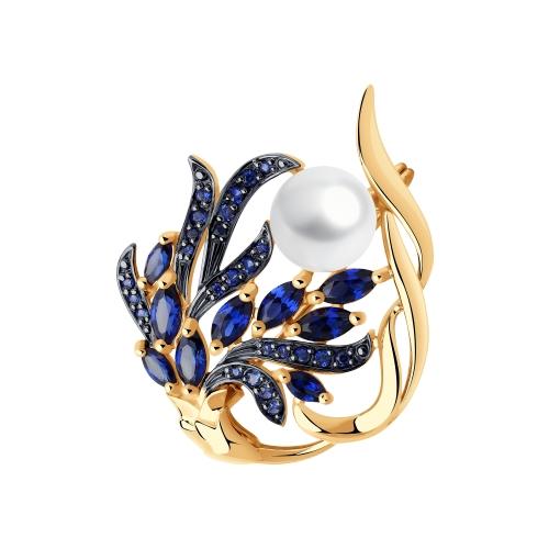 Фото «Золотая брошь с корундом, фианитами и жемчугом SOKOLOV 794042*»
