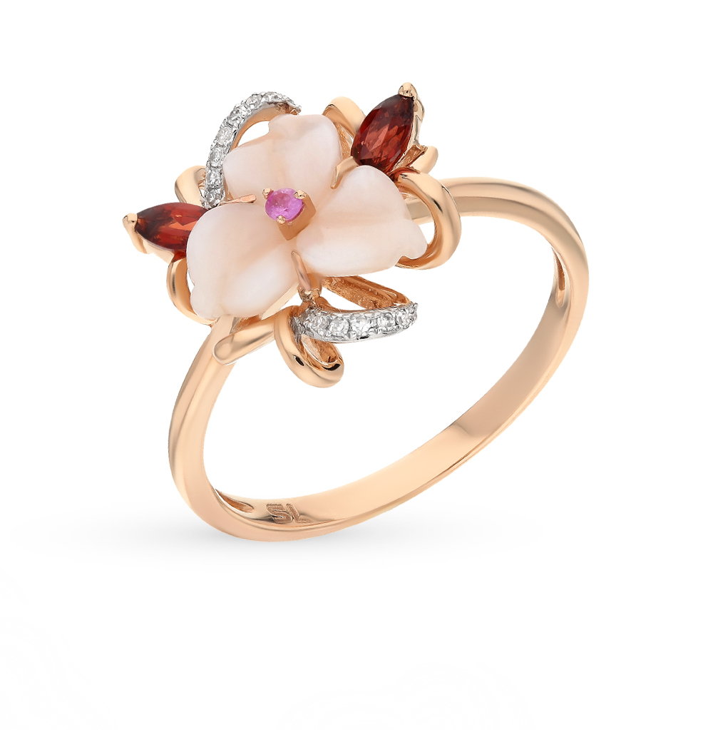 Фото «золото кольцо с гранатом, перламутром и бриллиантами»