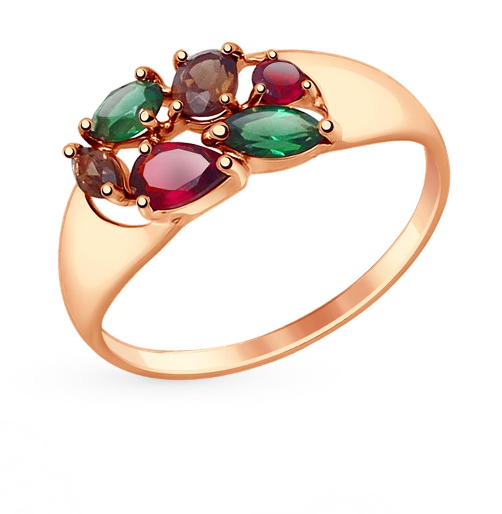 Фото «Золотое кольцо с раухтопазами, гранатом и ситаллами SOKOLOV 714677*»