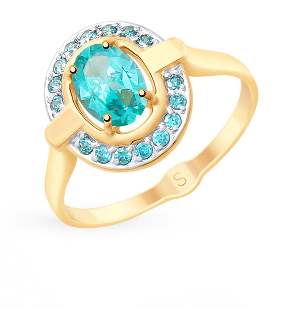 Фото «Золотое кольцо с топазами и фианитами SOKOLOV 715316*»
