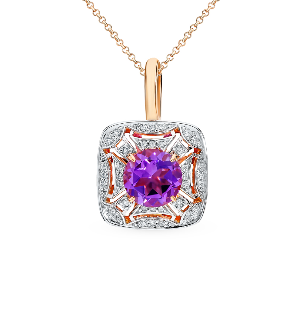 золотая подвеска с аметистом и бриллиантами