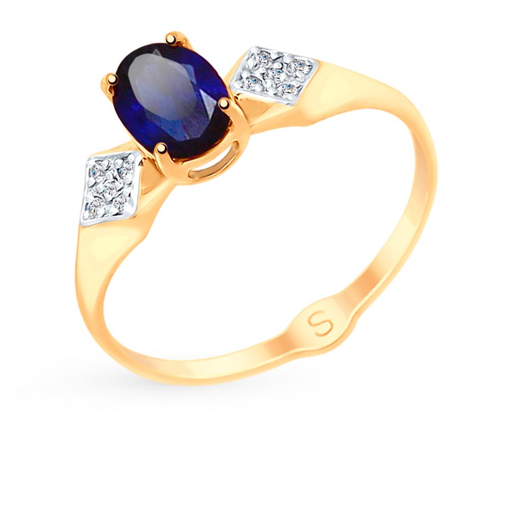 Фото «Золотое кольцо с корундом и фианитами SOKOLOV 715150»