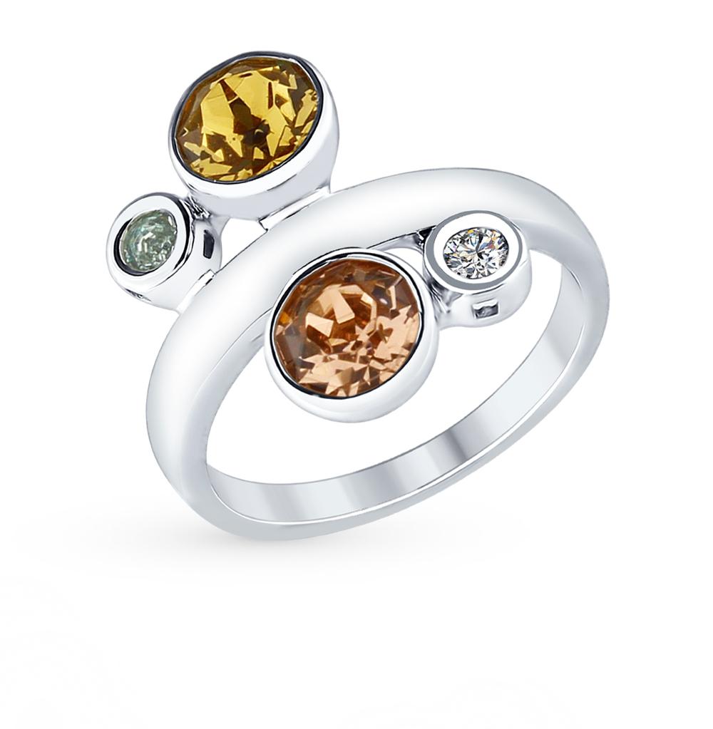 серебряное кольцо с кристаллами swarovski SOKOLOV 94012371