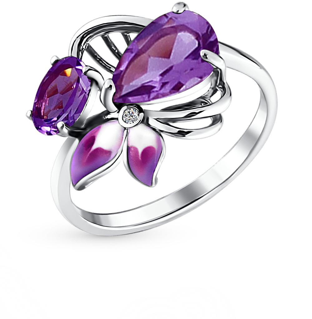 Фото «серебряное кольцо с аметистом, фианитами и эмалью»