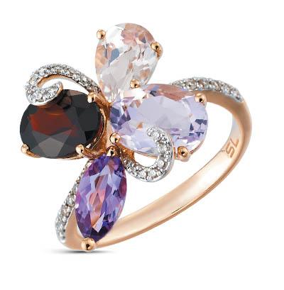 Фото «Золотое кольцо с аметистом, кварцем, корундом, гранатом и бриллиантами»
