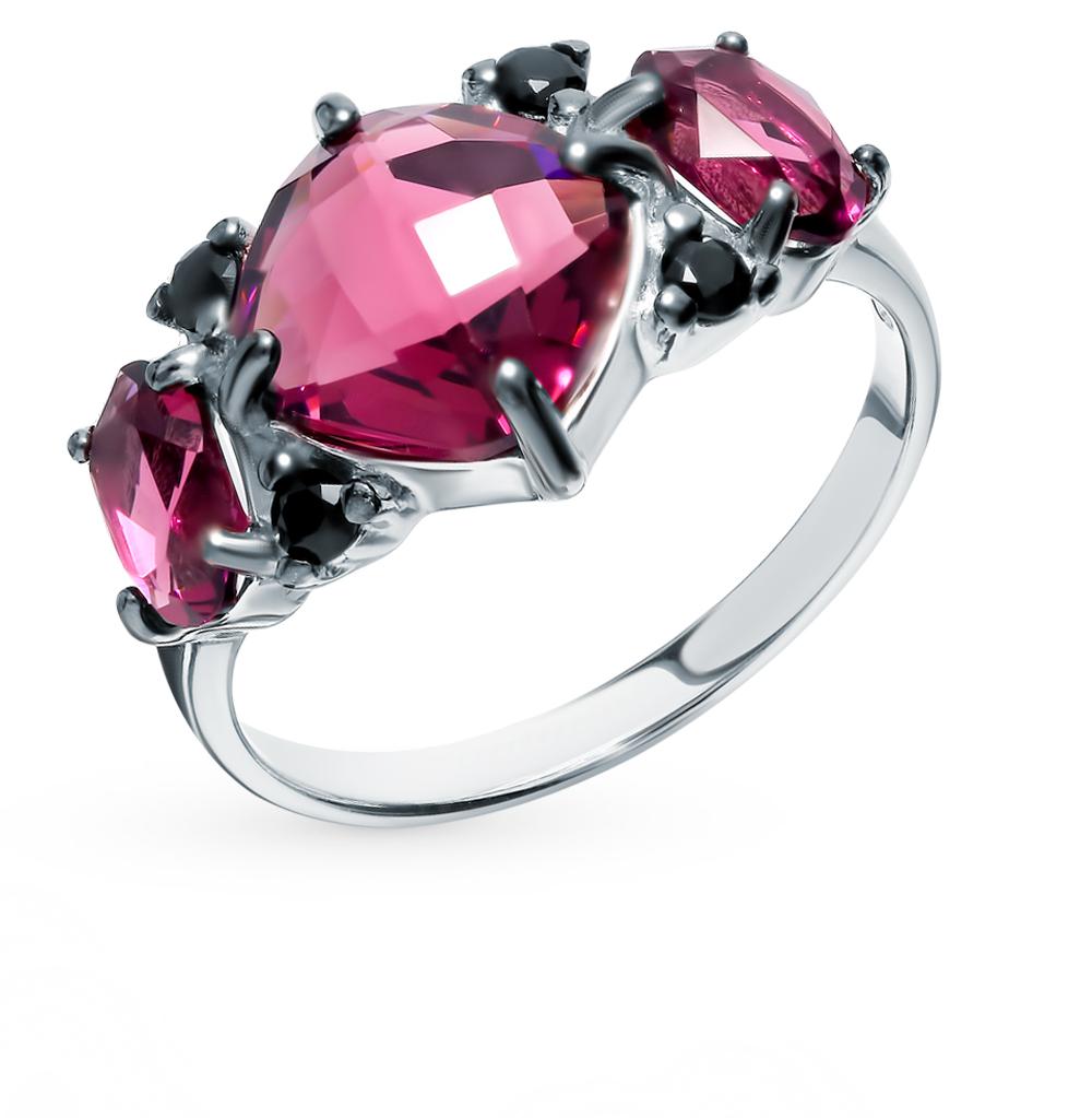Фото «Серебряное кольцо с фианитами и кристаллами swarovski SOKOLOV 94012712»
