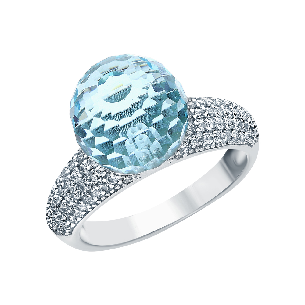 Серебряное кольцо с алпанитом и фианитами в Санкт-Петербурге
