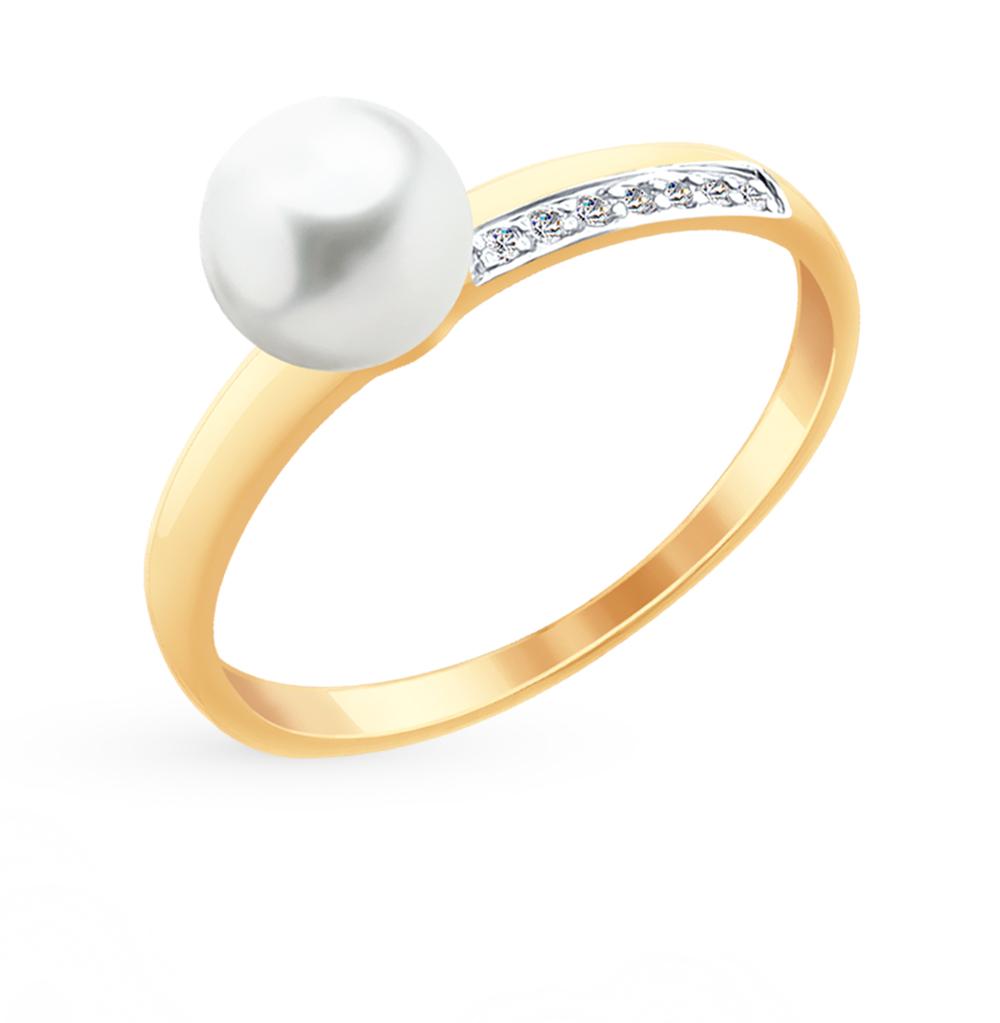 золотое кольцо с фианитами и жемчугом SOKOLOV 791056*