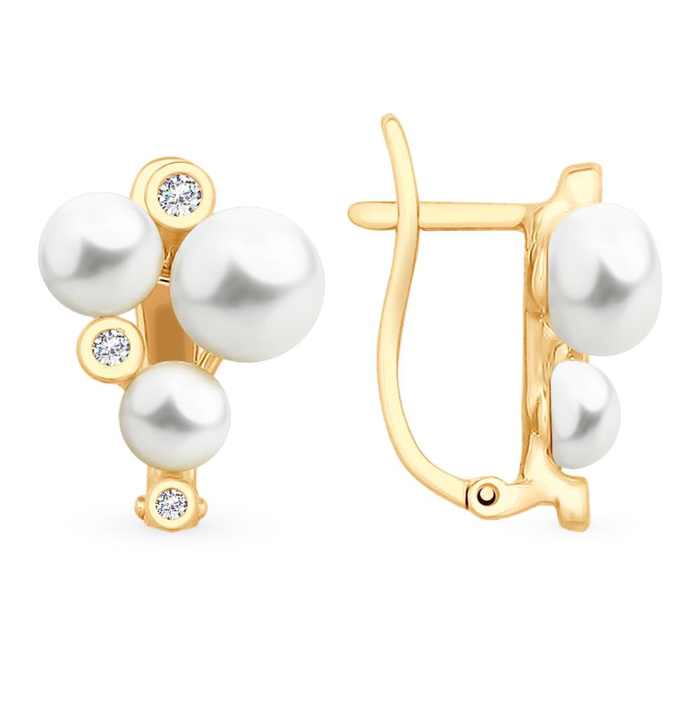 золотые серьги с фианитами и жемчугом SOKOLOV 792122