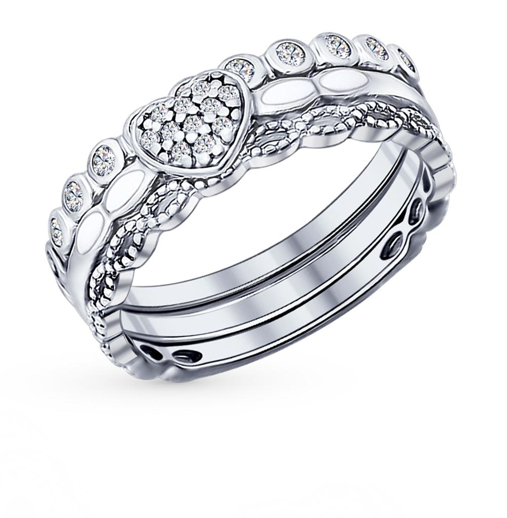 Серебряное кольцо с фианитами и эмалью SOKOLOV 94011705 в Екатеринбурге