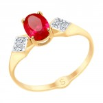 золотое кольцо с корундом и фианитами SOKOLOV 715151
