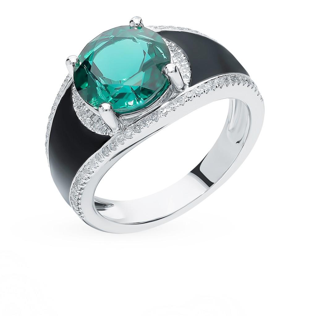 Золотое кольцо с изумрудом, эмалью и бриллиантами в Екатеринбурге