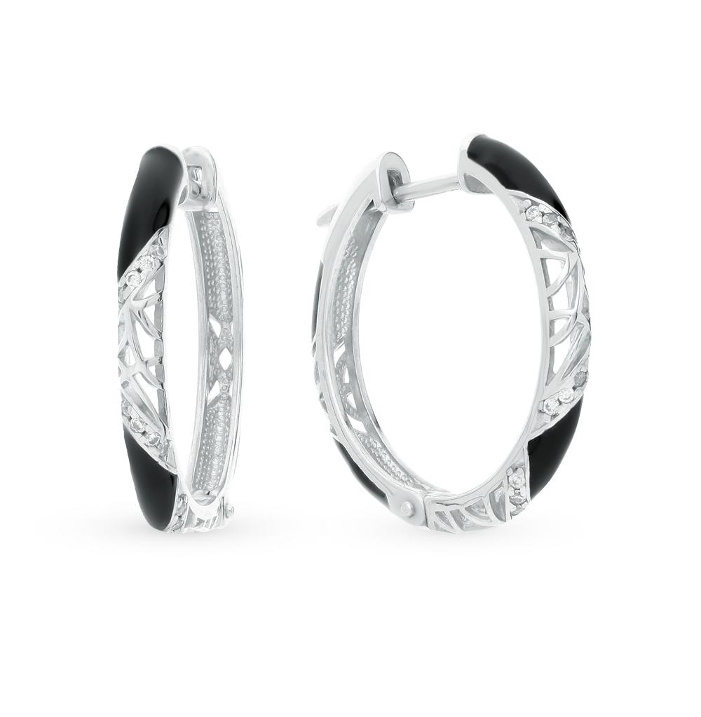 серебряные серьги с керамикой и фианитами SOKOLOV 94021240
