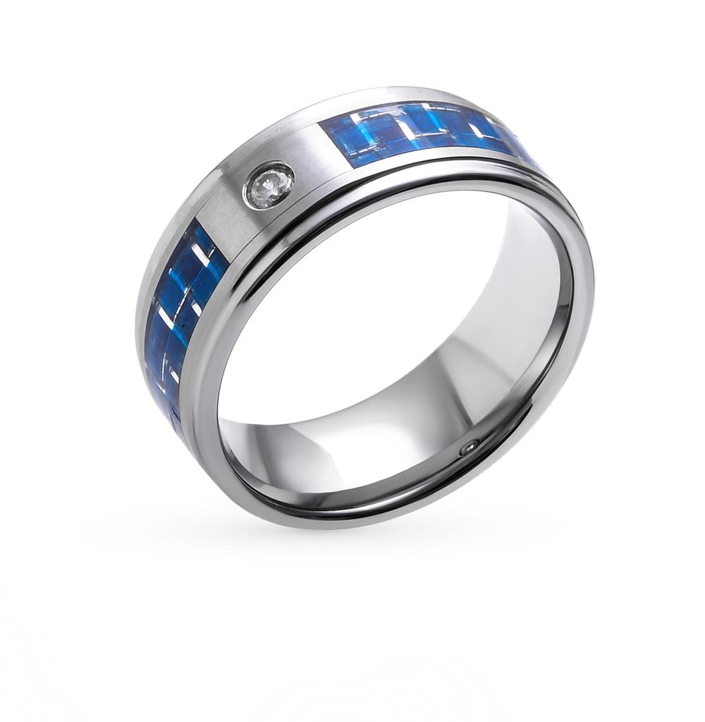 Фото «кольцо из стали с вольфрамом, карбоном и фианитами»