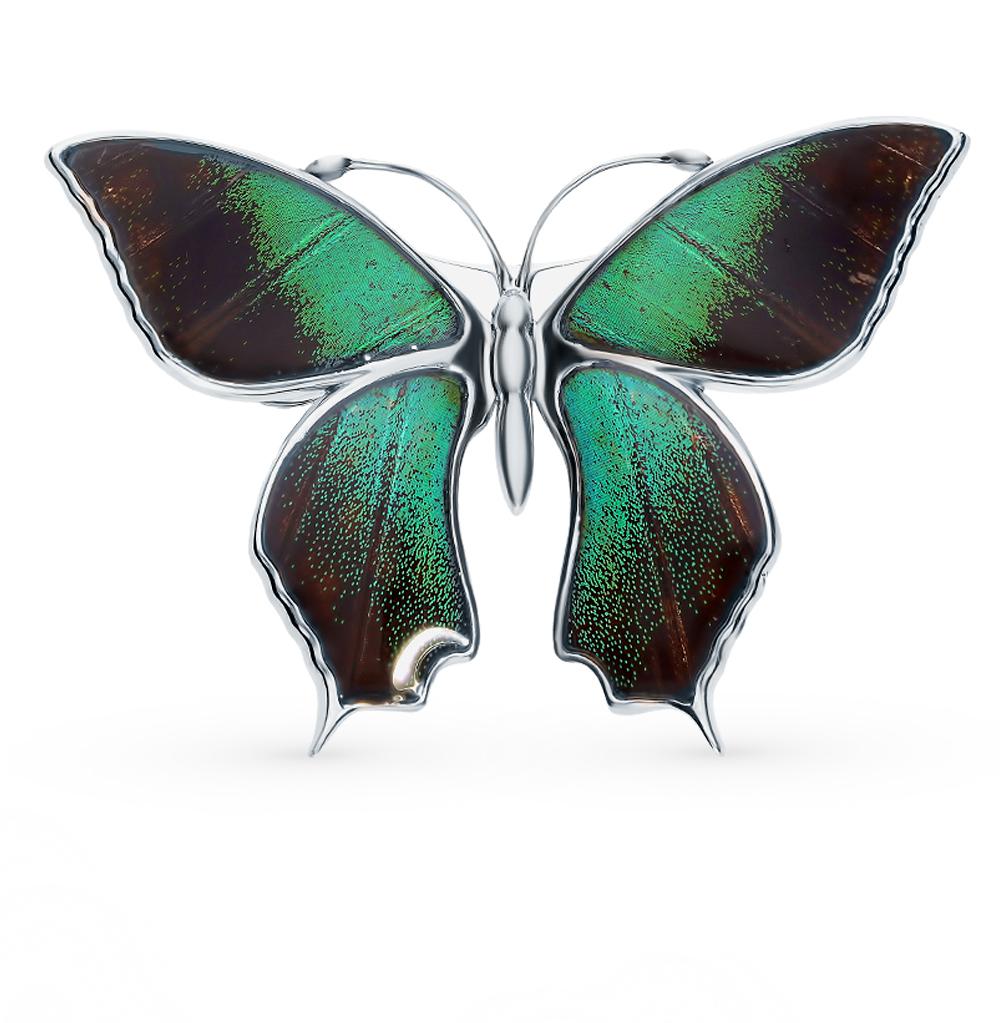 Серебряная брошь с эмалью и крыльями бабочки, 5 см