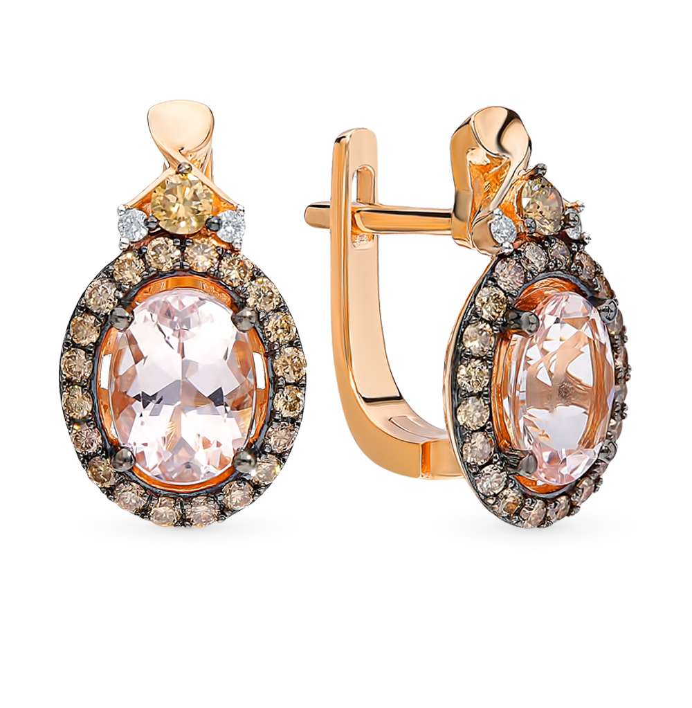 Золотые серьги с коньячными бриллиантами, морганитами