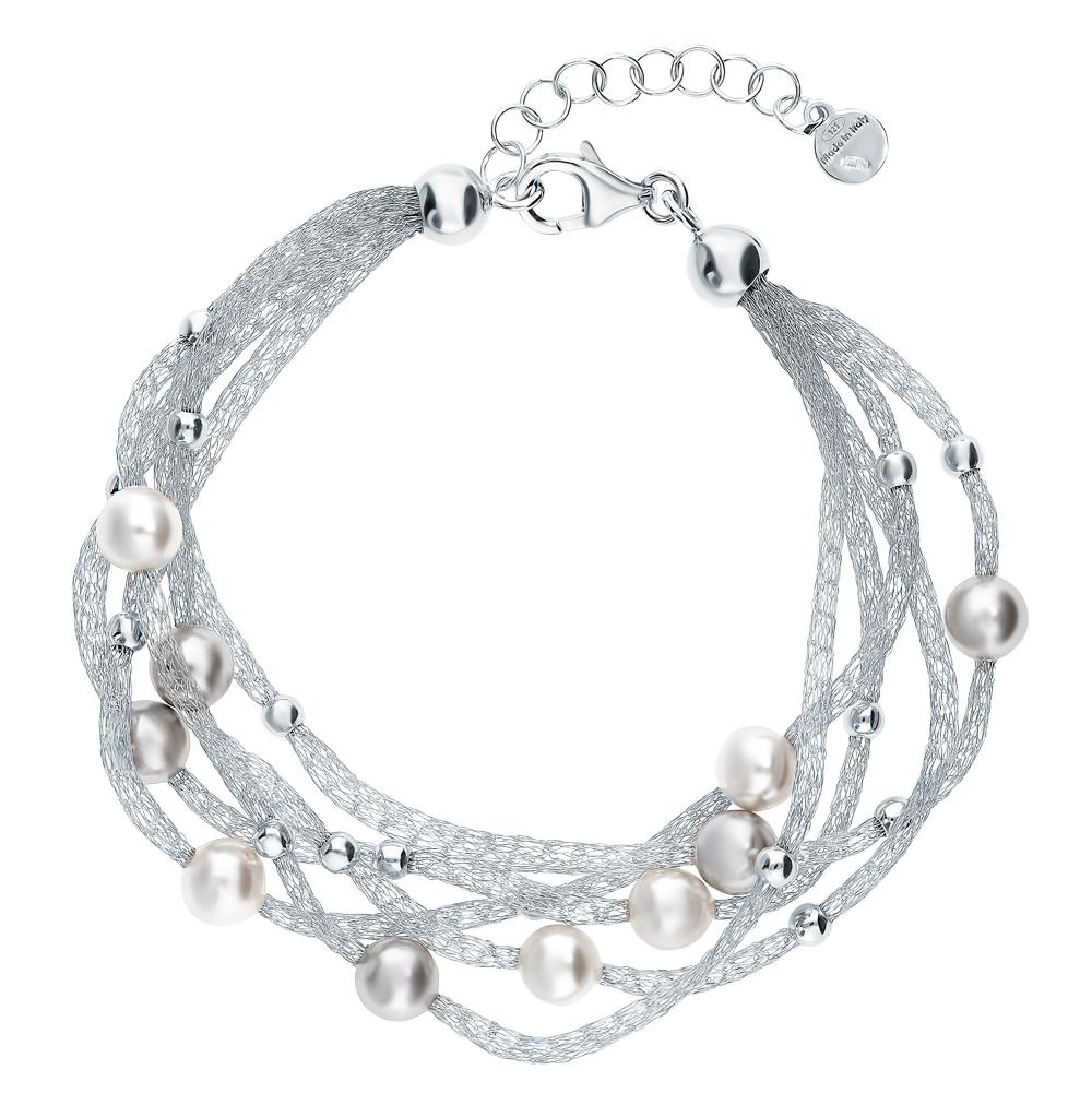 серебряный браслет с кристаллами и жемчугом