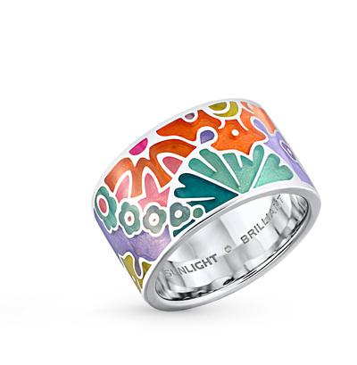 серебряное кольцо с эмалью и бриллиантами