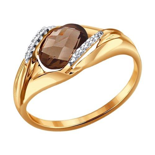 Фото «Золотое кольцо с раухтопазами и фианитами SOKOLOV 714064*»