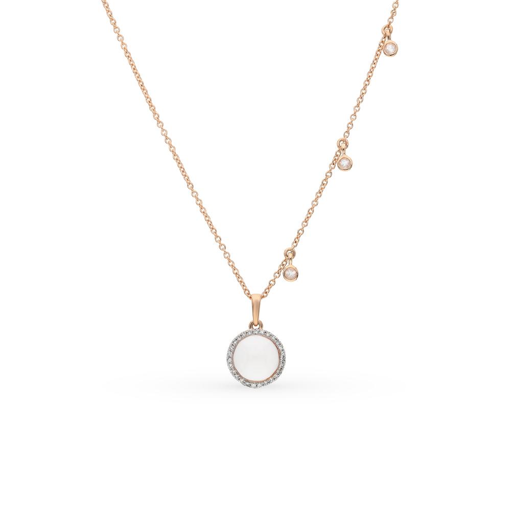 золотое шейное украшение с кварцем и бриллиантами
