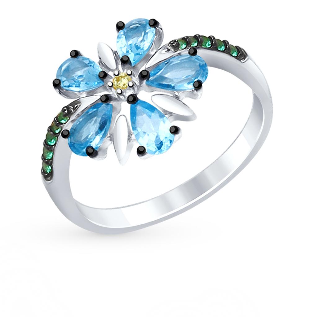 серебряное кольцо с топазами и фианитами SOKOLOV 92011413