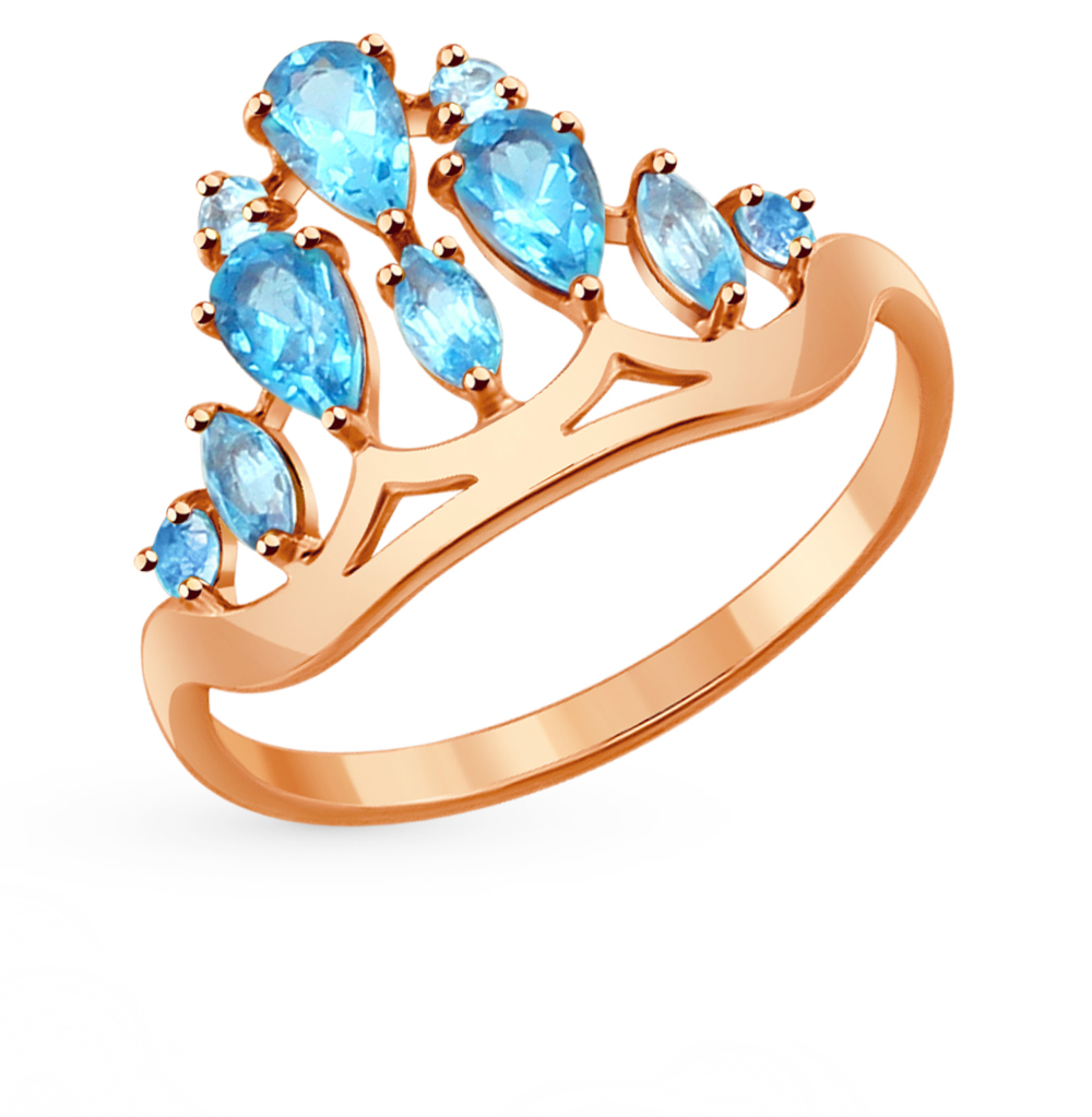 золотое кольцо с топазами SOKOLOV 714278*