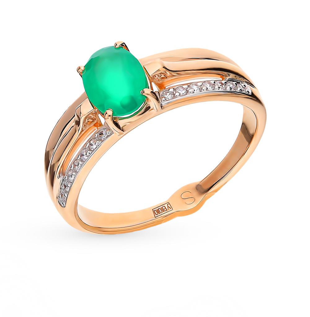 Фото «Золотое кольцо с фианитами и агатом SOKOLOV 715236*»