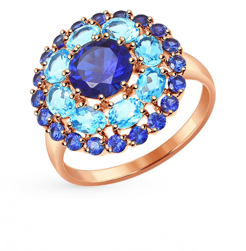 золотое кольцо с корундом и топазами SOKOLOV 714306*