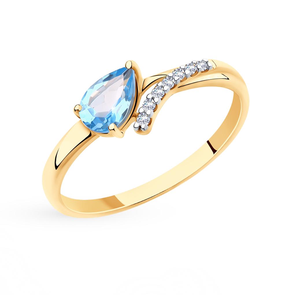 золотое кольцо с топазами и фианитами SOKOLOV 715695*