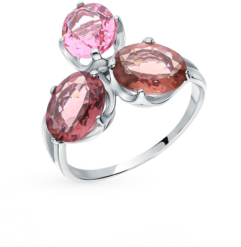 Серебряное кольцо с сапфирами, аметистом и морганитами в Екатеринбурге